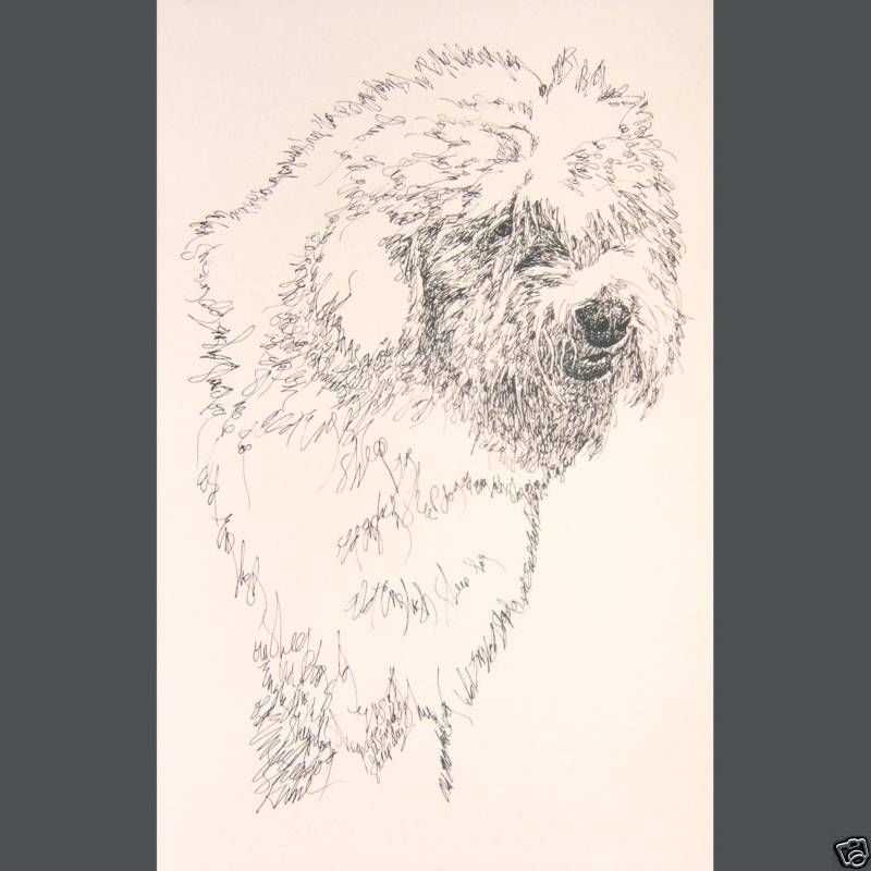 Old English Sheepdog Art Print #58 Kline adds dogs name free. WORD DRAWING gift