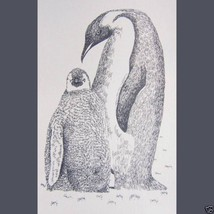 PENGUINS Drawn from Words Art Print #88 by Stephen Kline MOM BABY Happy ... - $45.00