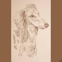 Saluki Dog Art Portrait Print #25 Kline adds dog name free. Drawn from w... - $60.00