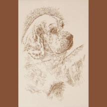 Clumber Spaniel Dog Art Print #236 Stephen Kline will draw your dogs nam... - $60.00