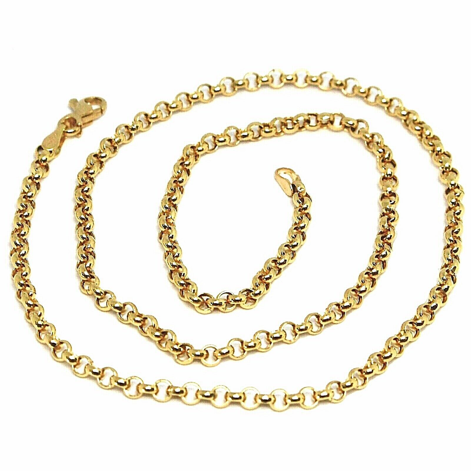"18K YELLOW GOLD CHAIN 19.70"", DOME ROUND CIRCLE ROLO LINK 3 MM MADE IN ITALY"