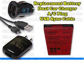 HCTC EVO 4G Battery + AC Power Plug + USB Data Sync Cord + Dual Car Char... - $16.61