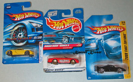 Lot of 3 Mattel Hot Wheels Cars - Porsche Carrera, Jaguar XK8, Ferrari F... - $14.46