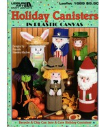 Holiday Canisters in Plastic Canvas Uncle Sam, Witch, Pilgrim, Santa #1685 - $6.95