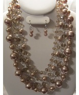 Fashion PEARL & CRYSTAL BEADS CHUNKY 4 MULTI LAYERED NECKLACE & EARRIN... - $23.78