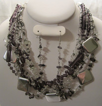 Fashion Silver  & Black Tone Multi Layered Metal  Necklace & Earring Set  - $19.99