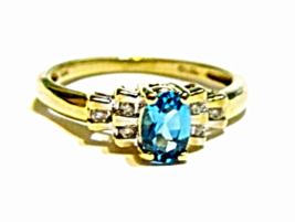 10K Yellow Gold Blue Topaz Oval Solitaire & Diamond Ring, Size 7, 0.79(TCW), 2GR - $155.00