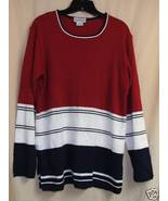 Black,Red And White Knit Top Sz. Lg. - $10.00
