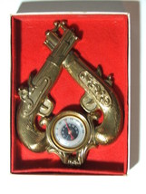 Vintage Dual Pistols Guns Thermometer in Box  - $24.99