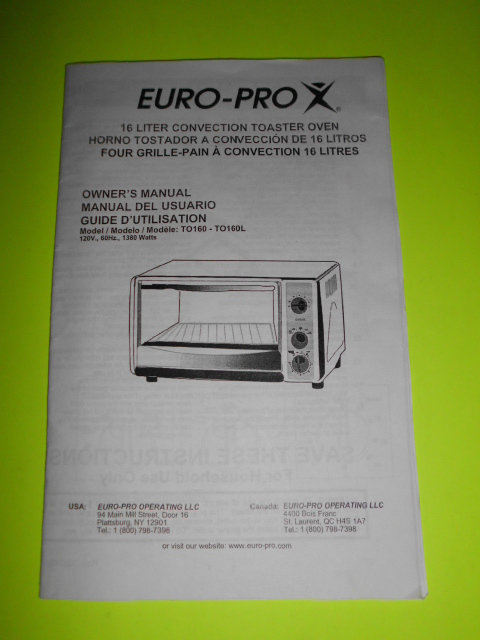 Pro convection toaster oven to160 to160l owners manual instructions