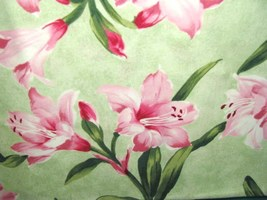 RJR Always in Bloom Pink Lilys on Green Cotton Fabric - $28.95