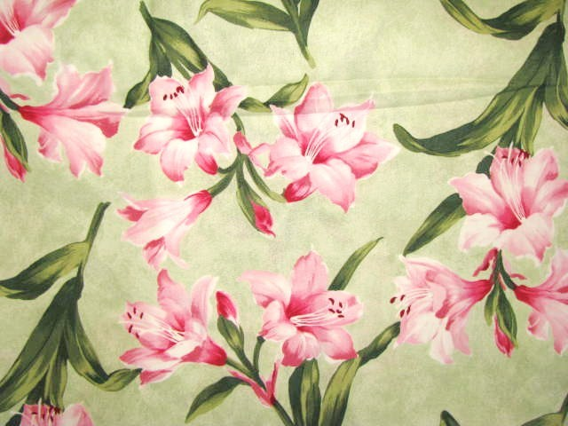 RJR Always in Bloom Pink Lilys on Green Cotton Fabric