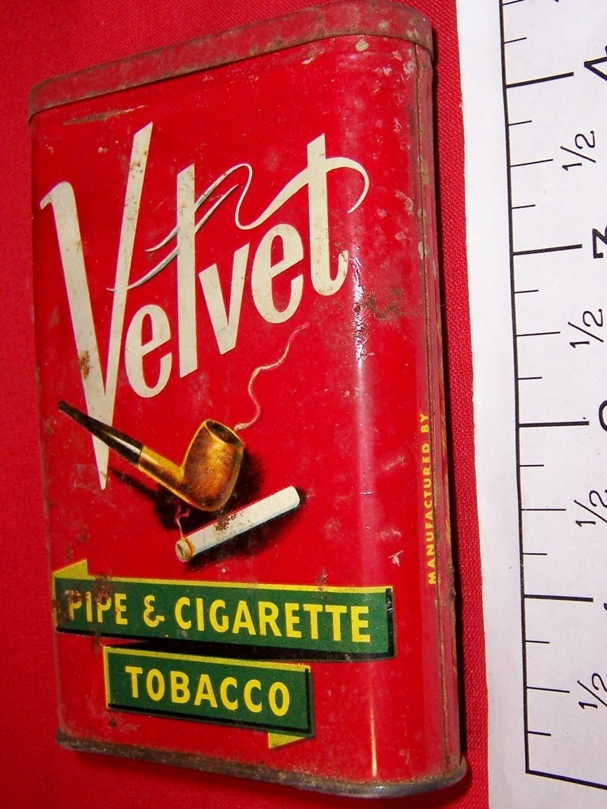 Vintage Velvet Oval Pocket Size Tobacco Tin Can
