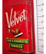 Vintage Velvet Oval Pocket Size Tobacco Tin Can - $10.19
