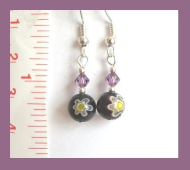 Purple-Yellow Millefiori and Swarovski Crystal Earrings