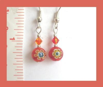 Red/Orange-Blue Millefiori and Swarovski Crystal Earrings