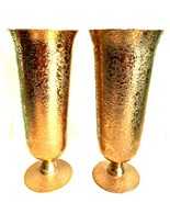 Matching Pair Gold Gilt Glass Vases Footed Decorative Vase 10 inches Tall  - $87.12