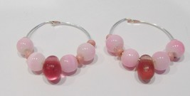 handmade silver hoop earrings with pink cat eye beads and rose tear drop... - $9.00