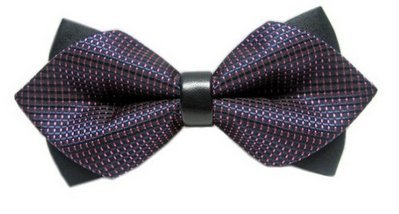 BOWTIE Double Layered Sided Purple Pattern Leather Bow Tie Tuxedo Wedding Party
