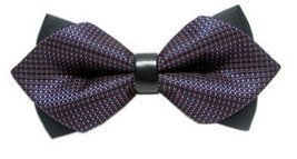 BOWTIE Double Layered Sided Purple Pattern Leather Bow Tie Tuxedo Weddin... - €9,66 EUR