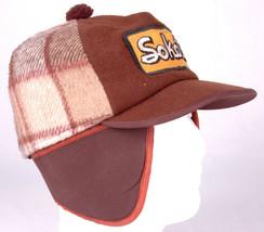 Vtg SOKOTA Hat-Brown Plaid-Ear Flaps-Patch-Agriculture Farm Seed-L-Quilt... - $116.86