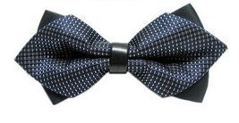 BOWTIE Double Layered Sided Dark Blue Patterned Leather Bow Tie Wedding ... - €9,66 EUR