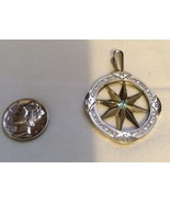 18K White Gold Pendant - compass with diamond accents and a sapphire - $1,300.00