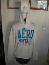 WOMEN'S AEROPOSTALE AERO IVORY FLEECE PULLOVER HOODIE CRACKED BLUE LOGO ... - $36.99