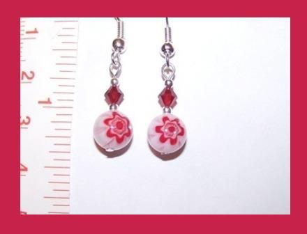 White-Red Millefiori and Swarovski Crystal Earring