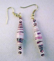 "Light Purple Pink Mix 2.5"" Drop Dangle Earrings Gold Wire Recycled Paper... - $3.91"