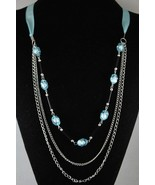 New Baby Sky Blue Beaded Chain 3 row Silk Ribbon Handcrafted Necklace  - $5.99