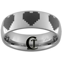 6mm Dome Tungsten Carbide Band Nintendo 8- Bit Heart Ring Sizes 4-15 - $49.00