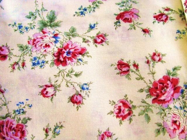 MBT Roses on Cream Cotton Fabric