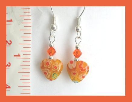 Petite Orange Millefiori Heart Earrings w/ Swarovski Crystal