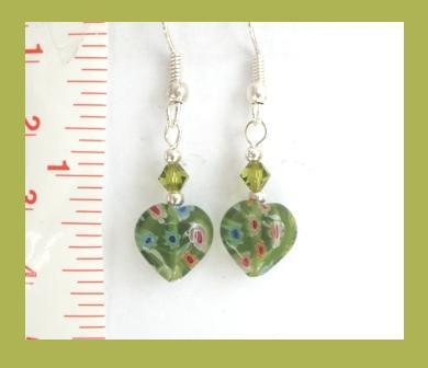 Petite Green Millefiori Heart Earrings w/ Swarovski Crystal