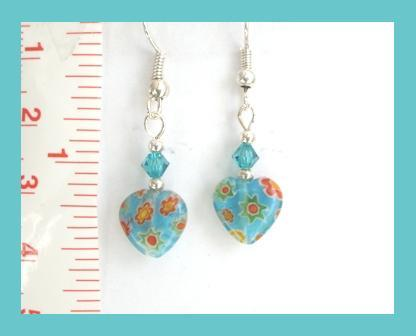 Petite Aqua Millefiori Heart Earrings w/ Swarovski Crystal
