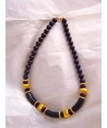 "Trifari purple & gold tone lucite bead 17"" choker necklace marked - $24.74"