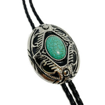 Cross Turquoise Mens BOLO Tie Wedding Necklace PU Leather Rope Western C... - $12.79