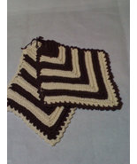 Hand crocheted brown/cream potholder set - $8.00