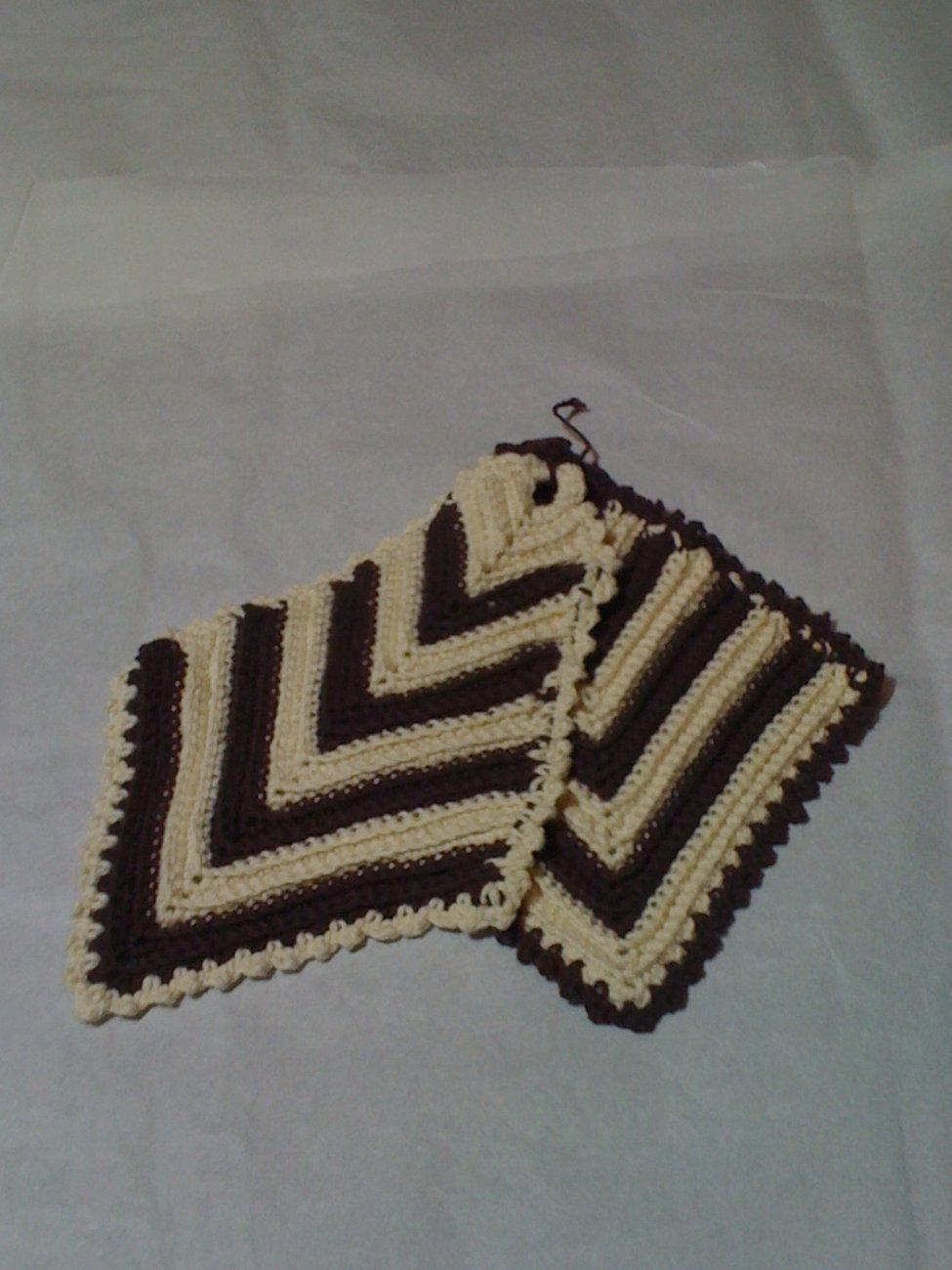 Hand crocheted brown/cream potholder set