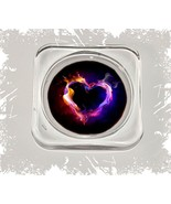 Heart on Fire, Square Glass Coaster Gift, Limited Edition | Cellini Plaq... - $12.82