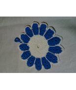 Crochet blue/white floral potholder - $7.00