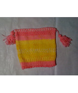 Knit pink/yellow multi-color baby beanie with tassels - $6.00