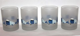 4 Culver Frosted Nautical Striped Sailor Whales DOF LowBall Glass Tumblers NEW - $49.99