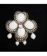 Kramer of New York Milk Glass Cabochon Rhinestone Dangle Brooch - $46.94