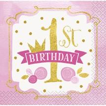 1st Birthday Pink Gold Girls 16 Ct Beverage Napkins - $3.13