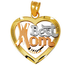 Fine 14k Three Tone Gold Best Mom Script Open H... - $99.99