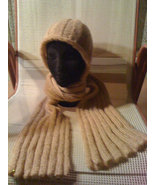 Knit hat/scarf combo - tan with sequins - $55.00