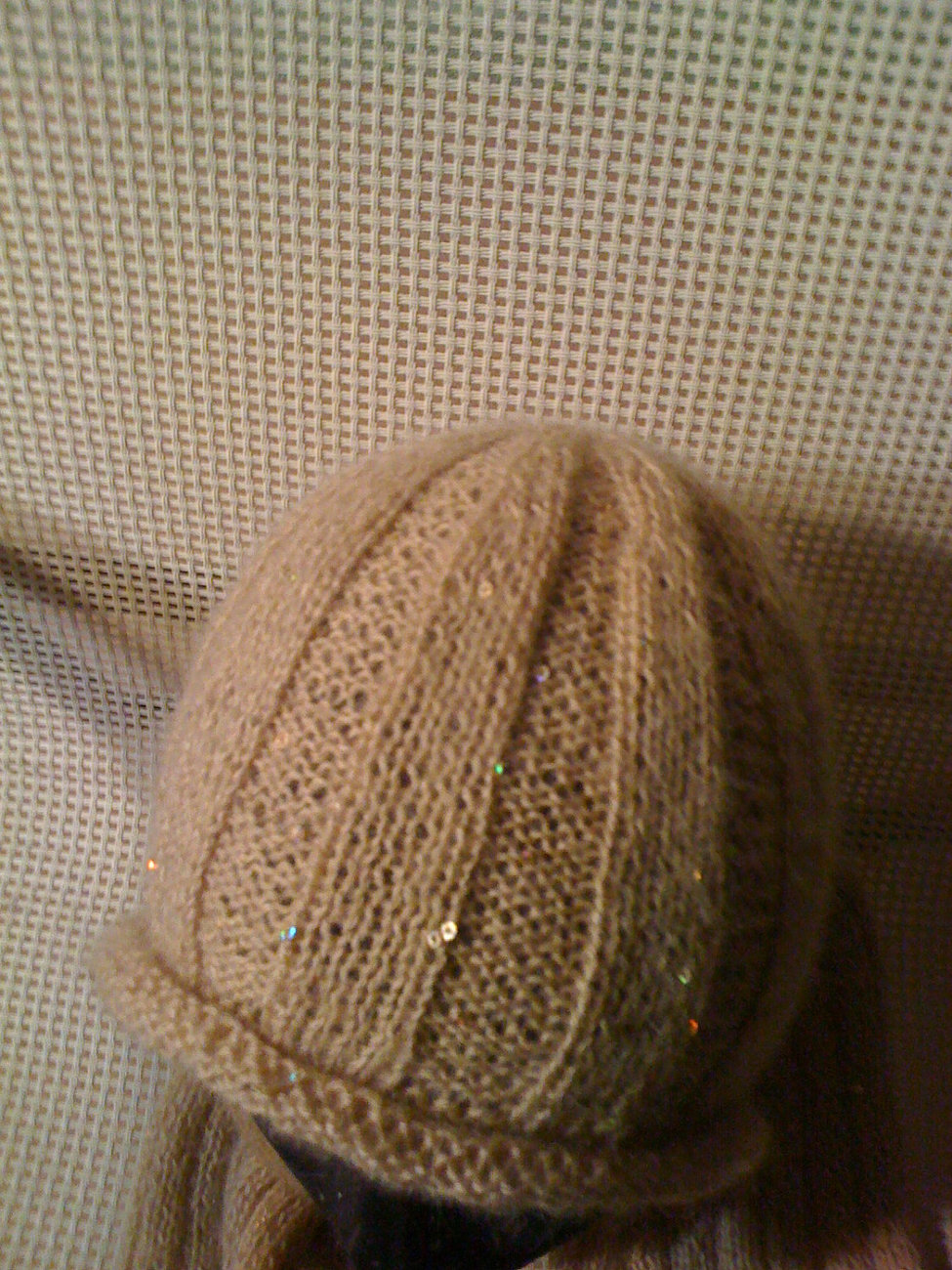 Knit hat/scarf combo - tan with sequins
