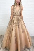 V Neck Floor Length Applique Open Back A Line Backless Bridal Gown image 9